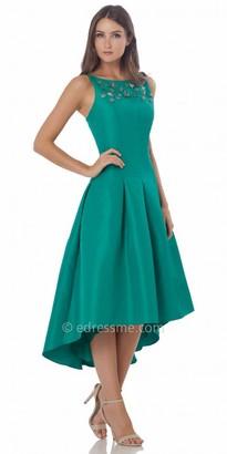 Carmen Marc Valvo Infusion 3 D Beaded Rosette High Low Cocktail Dress $360 thestylecure.com