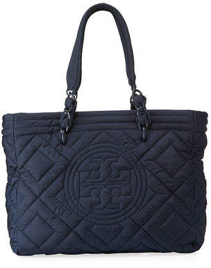 Tory Burch Fleming Quilted Nylon Large Tote Bag