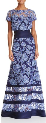 Tadashi Shoji Blouson Illusion Lace Gown $508 thestylecure.com
