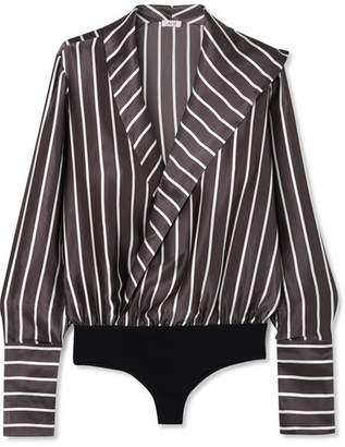 Alix - Reade Wrap-effect Striped Silk-satin And Stretch-jersey Bodysuit - Anthracite