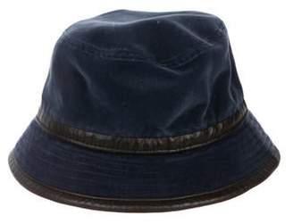 Hermes Leather-trimmed Velvet Bucket Hat