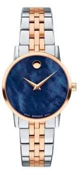 Movado Classic Rose Gold& Stainless Steel Bracelet Watch