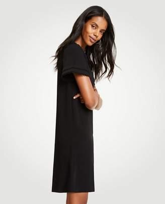 Ann Taylor Petite Scallop Trim Flare Sleeve Shift Dress