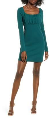 Leith Empire Waist Long Sleeve Cotton Blend Minidress