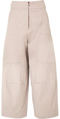 Chloé Cropped Stretch-cotton Wide-leg Pants - Gray