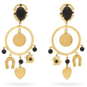 Dolce & Gabbana Faux Onyx Hoop And Charm Earrings - Womens - Gold