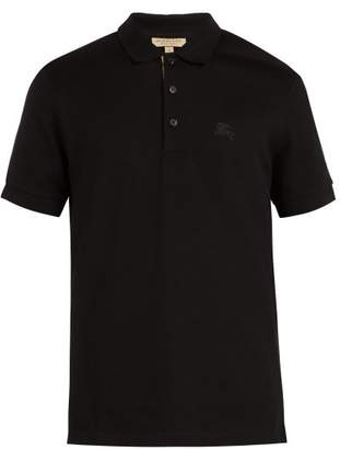 Burberry Check Placket Cotton PiquA Polo Shirt - Mens - Black