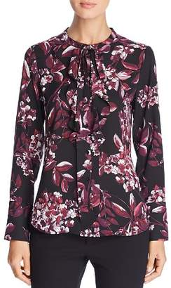 Karl Lagerfeld Paris Floral Tie-Neck Top