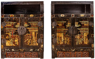 One Kings Lane Vintage Pair of Antique Chinese Display Cabinets - FEA Home