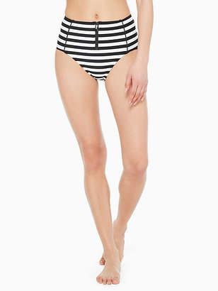 Kate Spade Cape may stripe zip high-waist bikini bottom