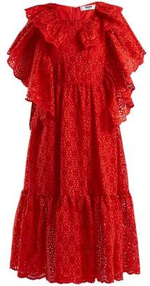 MSGM Ruffle-trimmed broderie-anglaise cotton dress