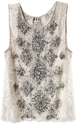 Haute Hippie Crystal embellished lace blouse