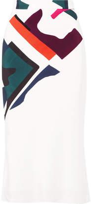 Cushnie et Ochs Expressionist Lia Printed Silk-satin Midi Skirt - White