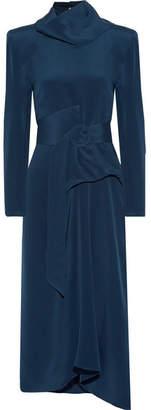 Tess Convertible Belted Silk-crepe Midi Dress - Navy