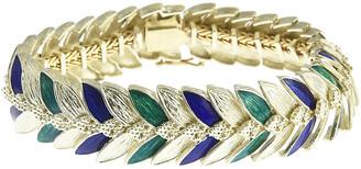 One Kings Lane Vintage 1970s Green & Navy Enamel Gold Bracelet - Owl's Roost Antiques