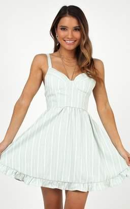 Showpo Save Some Love dress in sage stripe