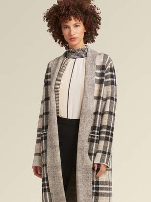 DKNY Plaid Open-Front Cardigan