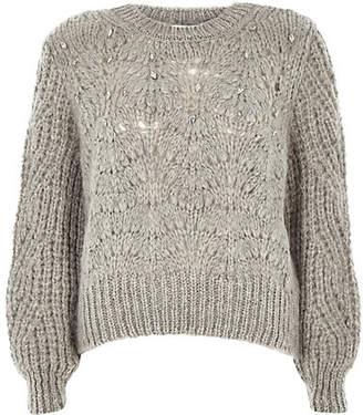 River Island Petite grey knit crew neck embellished sweater
