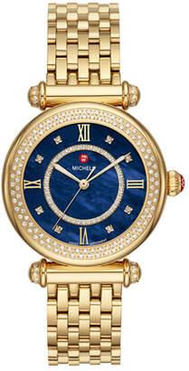 Michele 35mm Caber Mid Diamond Watch, Gold/Blue