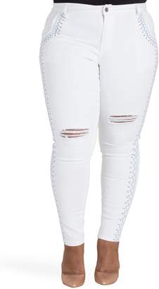 Justice Poetic Shantelle Embroidered Distressed Skinny Jeans