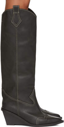 MM6 MAISON MARGIELA Black Tall Cowboy Boots