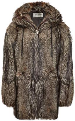 Saint Laurent Hooded Fox Fur Coat