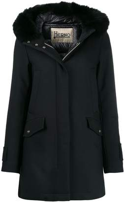 Herno faux fur trim hooded jacket