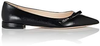 Prada Women's Embellished Saffiano Leather Flats - Nero