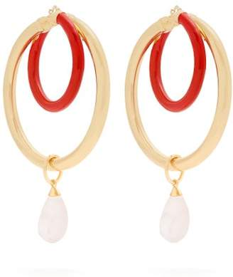 Peter Pilotto Large Glass Pendant Double Hoop Earrings - Womens - Gold