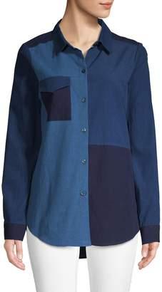 BCBGeneration Patchwork Chambray Button-Down Shirt