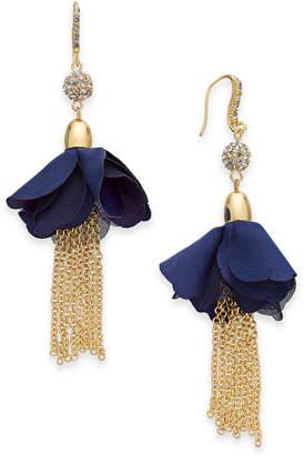 INC International Concepts I.n.c. Gold-Tone Crystal Bead, Fabric Flower & Chain Tassel Drop Earrings