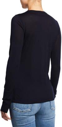 Elie Tahari Tali Crewneck Long-Sleeve Merino Wool Sweater with Mesh Inset