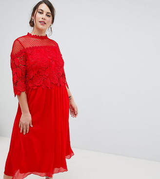 Little Mistress Plus Lace Top Midi Skater Dress In Red