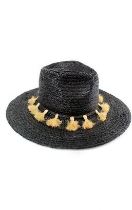 Women's Michael Stars Mystros Tassel Panama Hat - Black $54 thestylecure.com