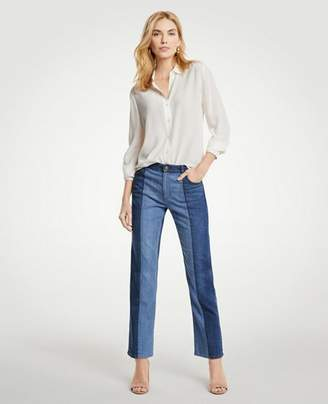 Ann Taylor Pieced Straight Crop Jeans