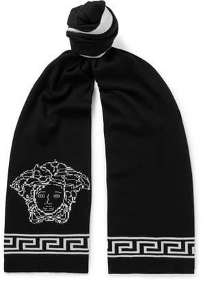 Versace Logo-Intarsia Wool And Silk-Blend Scarf