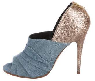 Manolo Blahnik Denim Peep-Toe Booties