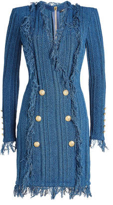 Balmain Mini Dress with Embossed Buttons