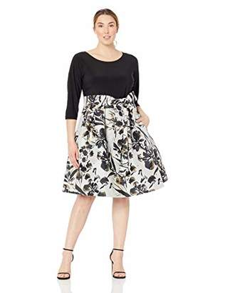 Jessica Howard Plus Size Womens Long Sleeve Fit and Flare Dress with Tie Sash