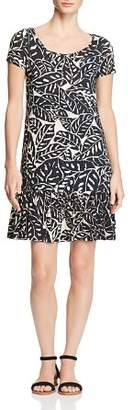 Three Dots Palm Print Ruffle Dress