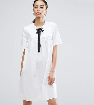 Asos Tall TALL Smock mini dress with Eyelet Detail and Grosgrain Tie