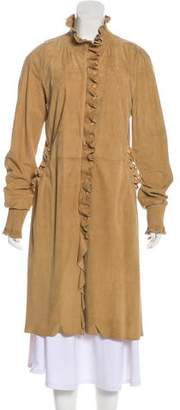 Ermanno Scervino Suede Ruffle-Trimmed Coat