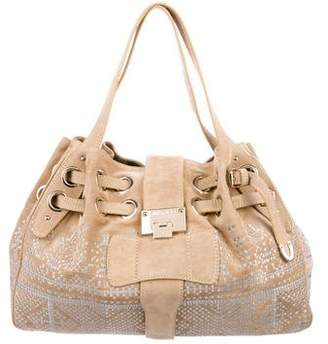 Jimmy Choo Embroidered Suede Hobo