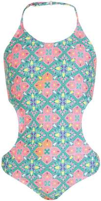 boohoo Girls Tile Print Cut Out Swimsuit