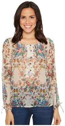 Lucky Brand - Sheer Floral Peasant Top Women's Long Sleeve Pullover $89.50 thestylecure.com