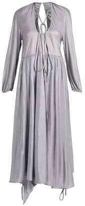 Vetements Wrap Skirt Satin Jersey Midi Dress - Womens - Silver