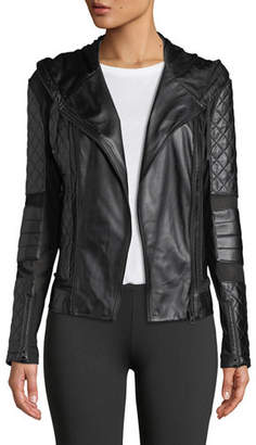 Blanc Noir Voyage Hooded Diamond-Stitch Lace-Up Leather Moto Jacket