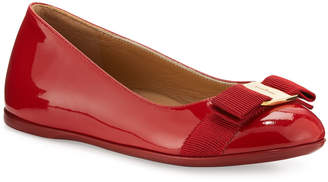 Salvatore Ferragamo Varina Mini Patent Leather Ballet Flats, 10T-2Y