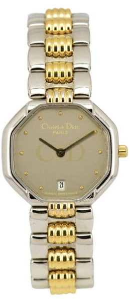 Christian Dior Christian Dior 48.203 Stainless Steel & Gold Plated Silver Gray Dial Date Quartz 25mm Womens Watch