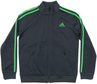 adidas Youth Fleece Lined Track Jacket, Grey Lime Medium (10-12)